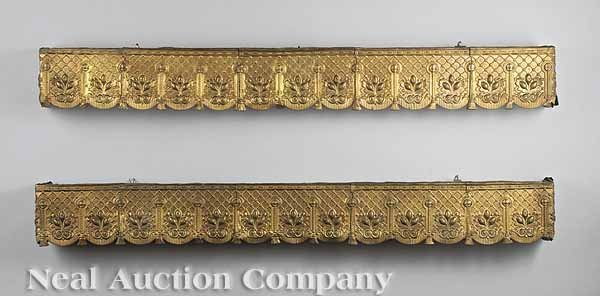 626: A Pair of Victorian Pressed Brass Window Cornices