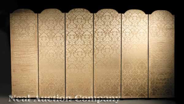 959: An Antique Upholstered Folding Screen