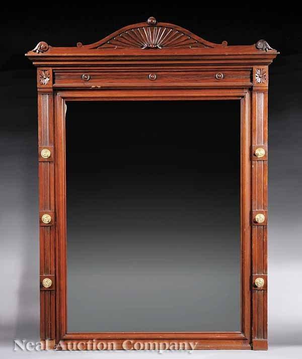 1020: An American Eastlake Walnut Overmantel Mirror