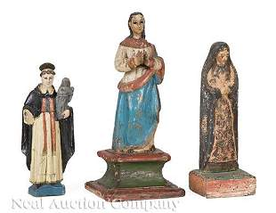 Spanish Colonial Carved, Polychrome Wood Figures