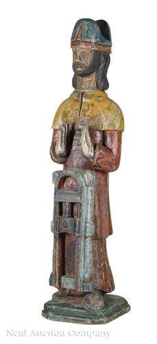 Antique Carved and Polychrome Figure of a Bishop