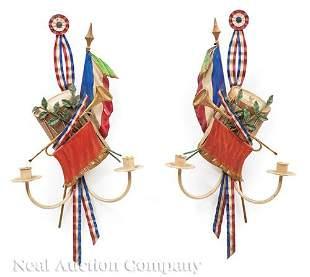 French Tole Peinte Tricolor Trophee Sconces