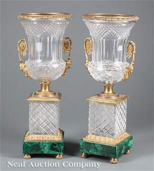 Gilt Bronze-Mounted Glass, Mlachite Campagna Urns