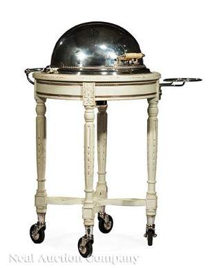Creme Peinte and Chrome-Mounted Carving Trolley