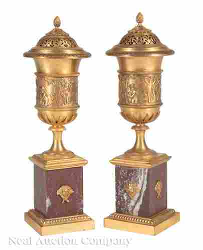 Rouge Marble and Gilt Bronze Candle Vases