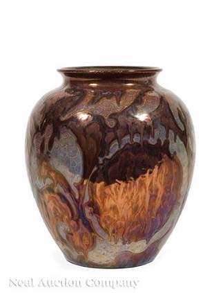 Gouda Metallic Lustre Ware Vase, Jan van Schaik