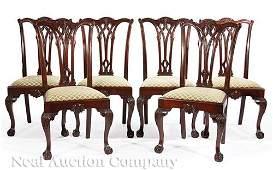 Eight Georgian-Style Mahogany Dining Chairs