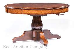 Exotic Woods Inlaid Mahogany Dining Table