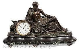 Patinated Bronze and Marble Figural Mantel Clock