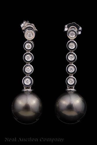 Gold, Tahitian Pearl and Diamond Dangle Earrings