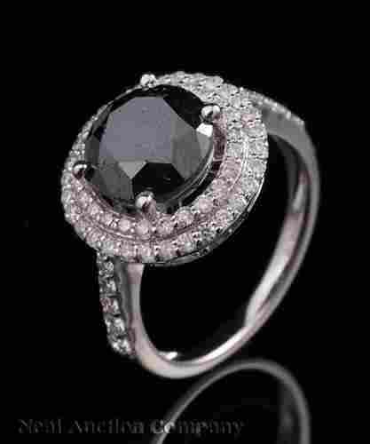 14 kt. White Gold and Black Diamond Ring