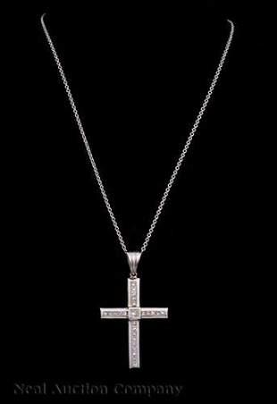 14 kt White Gold and Diamond Cross PendantChain