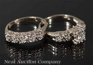 Gold and Diamond Engagement RingWedding Band