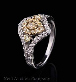 Gold and MultiColored Colorless Diamond Ring