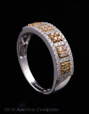 White and Yellow Gold and Fancy Diamond Ring