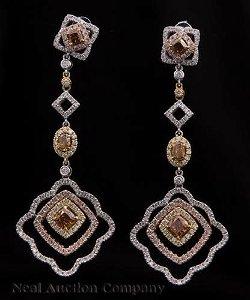Gold and Diamond Dangle Earrings