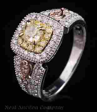 White Yellow and Pink Gold and Diamond Ring