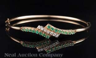 Gold Emerald and Diamond Bangle Bracelet