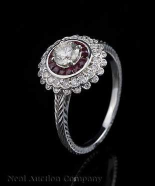 18 kt White Gold Diamond and Ruby Ring