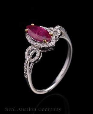 18 kt White Gold Ruby and Diamond Ring