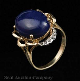 14 kt Yellow Gold Lapis and Diamond Ring