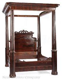 Classical Carved Mahogany Four Poster Tester Bed