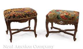 Two Louis XV-Style Carved Walnut Stools