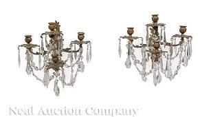 Gilt Bronze and Cut Crystal Four-Light Sconces