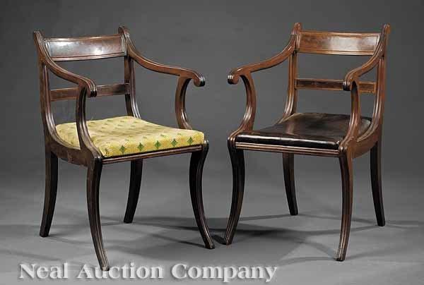 0001: Pair Antique Regency-Style Mahogany Armchairs