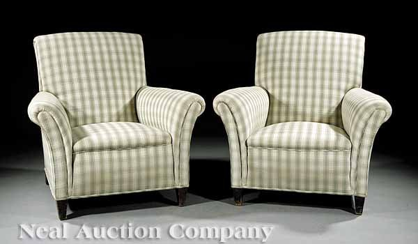 0004: Pair of Antique Upholstered Club Chairs