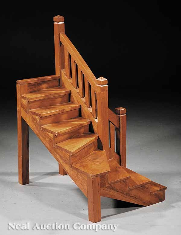 0005: Arts and Crafts Carved Elm Staircase Model
