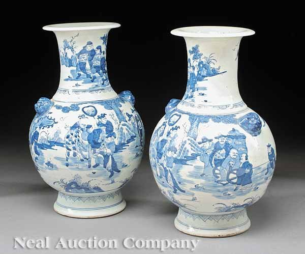 0013: Large Pair Chinese Baluster Form Porcelain Vases
