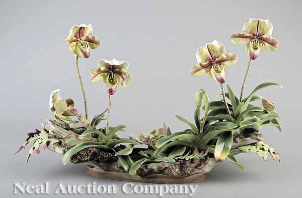 0014: Boehm Porcelain Orchid, Hummingbird Centerpiece