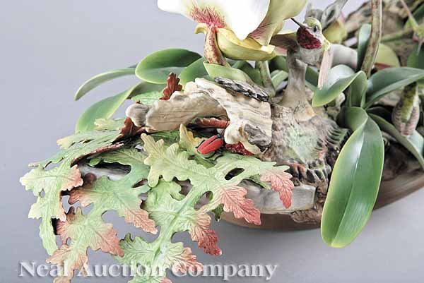 Boehm porcelain orchid hummingbird centerpiece lot