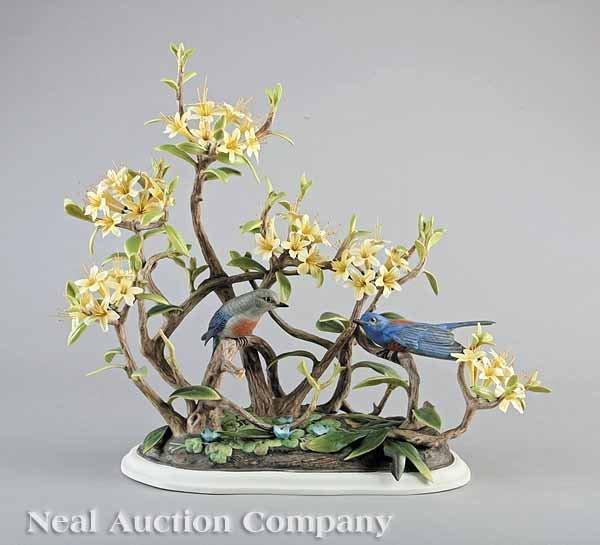 0016: Boehm Porcelain Western Bluebird Figural Group