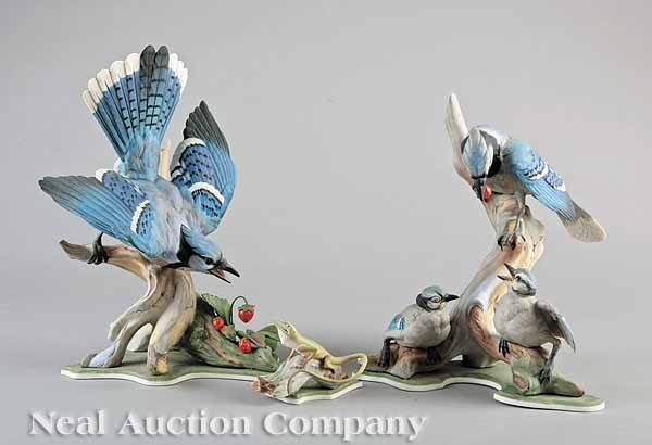 0017: Boehm Porcelain Blue Jay Male and Female Figures