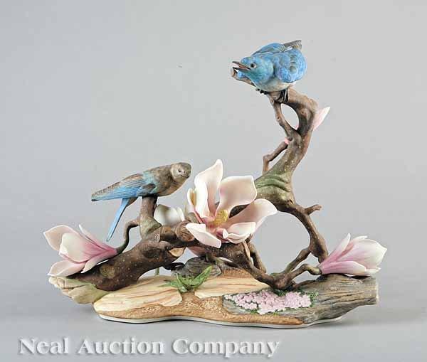 0018: Boehm Porcelain Mountain Bluebirds Figural Group