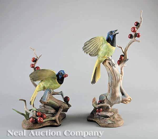0021: Two Boehm Porcelain Green Jay Figures