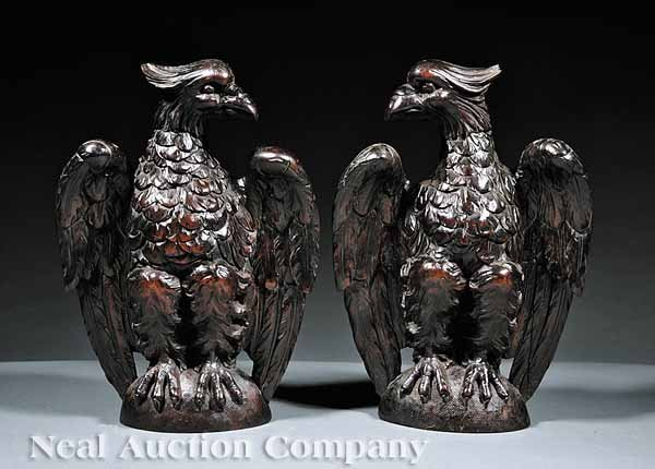 0022: Pair American Carved Mahogany Eagle Bookends
