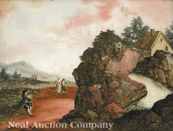 0023: French School, 19th c., four eglomise landscapes