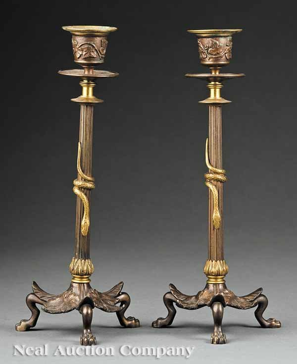 0024: Pair Patinated and Gilt Bronze Candlesticks