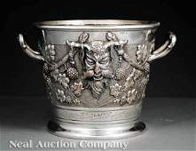 0148 English Silverplate Bacchus Motif Wine Cooler