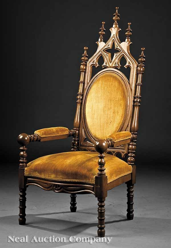 0641: American Gothic Carved Walnut Armchair