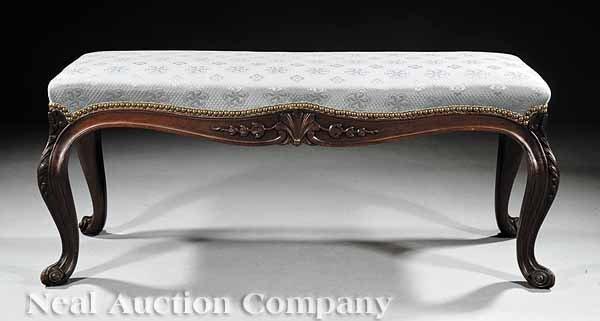 0642: American Rococo Mahogany Window Bench