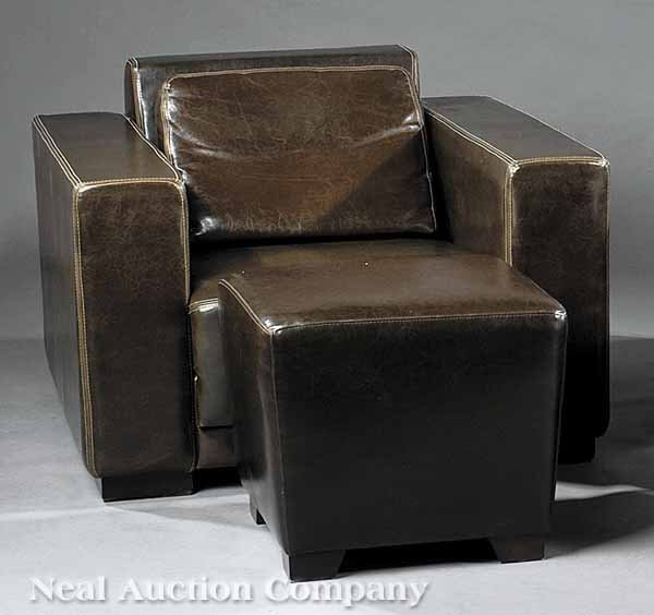 0646: Contemporary European Leather Chair with Ottoman