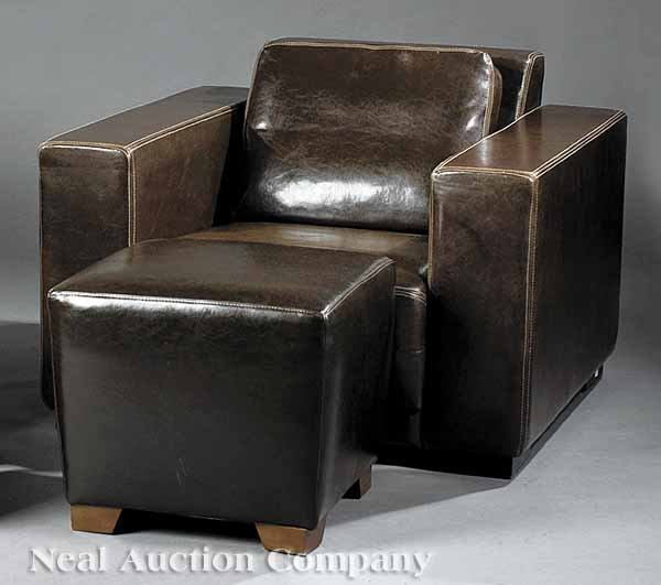 0647: Contemporary European Leather Chair with Ottoman