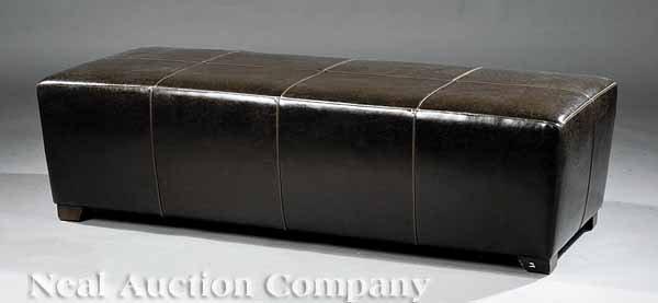 0648: Contemporary European Leather Bench