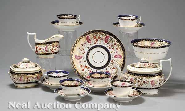 0653: Polychrome and Gilt Porcelain Tea Service