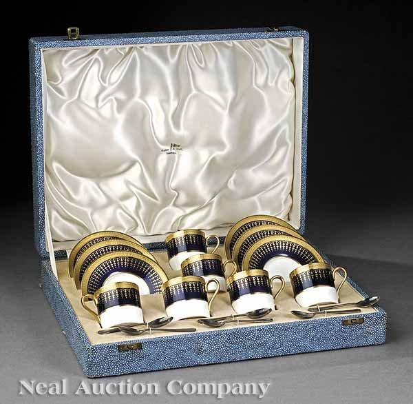 0654: Cobalt and Gilt Porcelain Demitasse Set