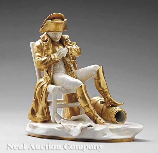 0656: Gilt, White Glazed Porcelain Figure of Napoleon